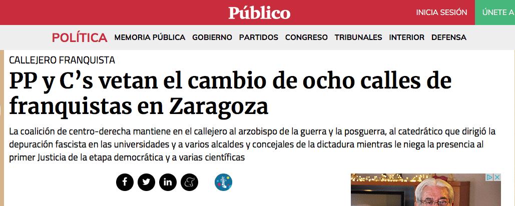 El Ayuntamiento de Zaragoza (PP-Ciudadanos) veta la retirada de nombres franquistas de calles zaragozanas